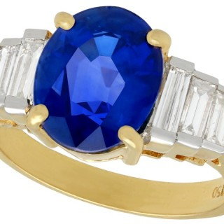 4.59ct Sapphire and 1.02ct Diamond, 18ct Yellow Gold Dress Ring - Vintage Circa 1990