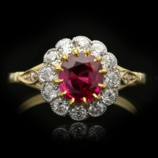 Edwardian Burmese ruby and diamond coronet cluster ring, circa 1910.