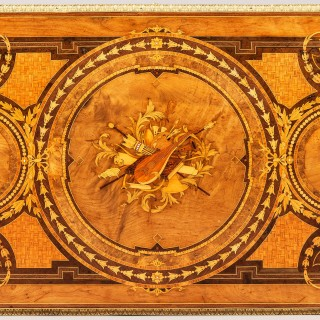 A Marquetry Antique Library Table by Howard & Sons