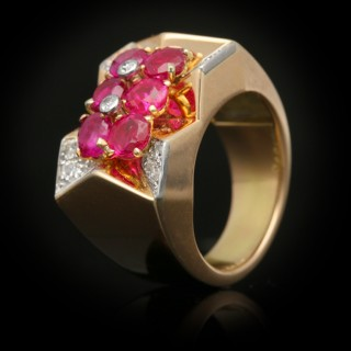 Boucheron Burmese ruby and diamond cocktail ring, French, circa 1945.