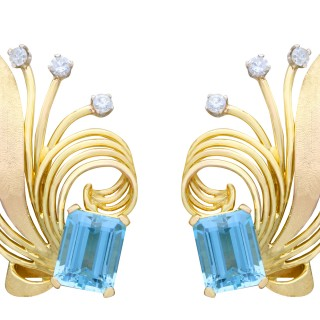 6.30ct Aquamarine and 0.36 Diamond, 18ct Yellow Gold Earrings - Vintage Circa 1950