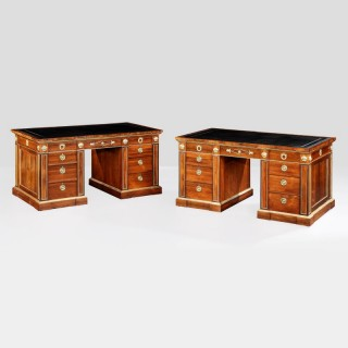 A Fine Pair of Pedestal Desks in the Regency Manner