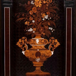 An Important Pair of Ebony, Ivory Inlaid and Marquetry Cabinets in the Louis XIII Manner Attributable to Charles Hunsinger