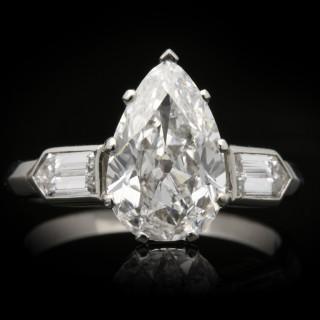 Drop shape old mine diamond ring, circa 1935.