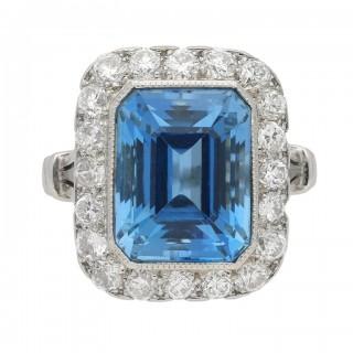 Tiffany & Co. aquamarine and diamond cluster ring, American, circa 1950.