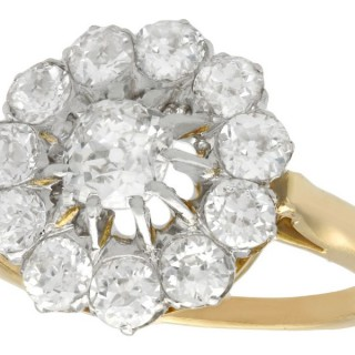 2.58 ct Diamond and 18 ct Yellow Gold Cluster Ring - Antique French Circa 1920