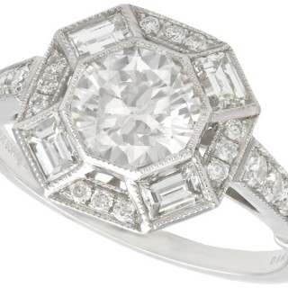 1.79ct Diamond and Platinum Cocktail Ring - Vintage and Contemporary
