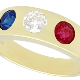 0.68ct Diamond and 0.66ct Sapphire, 0.64ct Ruby and 14ct Yellow Gold Dress Ring - Vintage Circa 1960