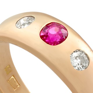 0.30ct Ruby and 0.28ct Diamond, 14ct Rose Gold Dress Ring - Vintage Circa 1940