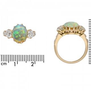 Bailey, Banks and Biddle opal and diamond three stone ring, American, circa 1890.