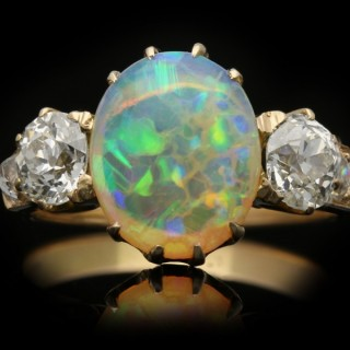 Bailey, Banks and Biddle opal and diamond three stone ring, American, circa 1890.
