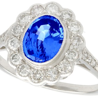 1.29 ct Sapphire and 0.56 ct Diamond, Platinum Dress Ring - Vintage Circa 1960