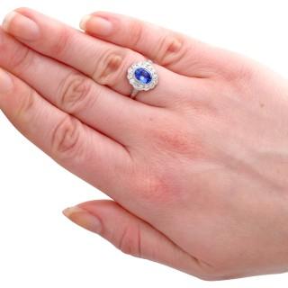1.29 ct Sapphire and 0.56 ct Diamond, Platinum Dress Ring - Vintage Circa 1960