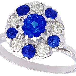 1.04ct Sapphire and 0.30ct Diamond, Platinum Cluster Ring - Antique Circa 1915