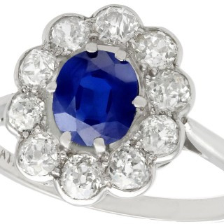 0.95ct Sapphire and 1.15ct Diamond, Platinum Cluster Ring - Antique Circa 1920