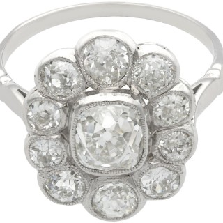3.07 ct Diamond and Platinum Cluster Ring - Antique and Vintage