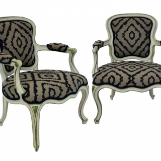 A PAIR LOUIS XV STYLE PAINTED FAUTEUILS