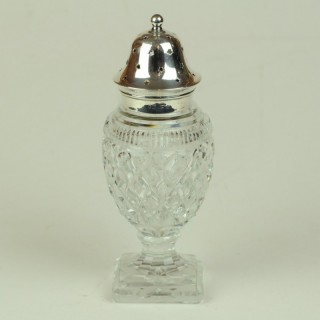 Cut glass and silver topped Sugar Castor