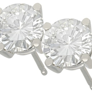 2ct Diamond and Platinum Stud Earrings - Antique and Contemporary