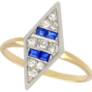 0.20ct Sapphire and 0.31ct Diamond, 14ct Yellow Gold Dress Ring - Antique Circa 1930