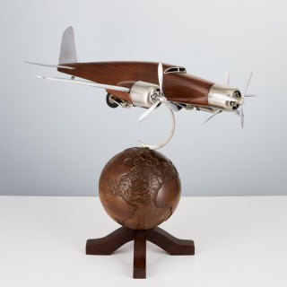 20th Century French Art Deco Model of an Aircraft on a World Globe, circa 1930