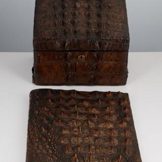 Early 20th Century Crocodile Desk Set by Thornhill & Co London Circa 1910