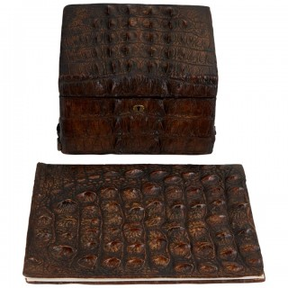 Early 20th Century Crocodile Desk Set by Thornhill & Co London Circa 1910