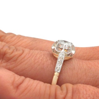 0.58 ct Diamond and 18 ct Yellow Gold Solitaire Ring - Antique Circa 1920
