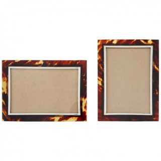 Pair of Antique Tortoiseshell and Silver Photograph Frames Birmingham 1902