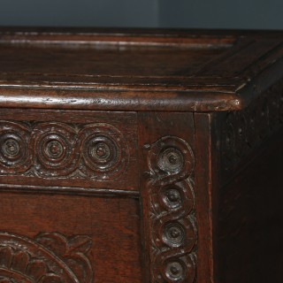Antique English Charles II Oak Carved Twin Panel Coffer Chest Blanket Box Trunk (Circa 1680)