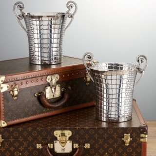 Mid-20th Century Silver Champagne Cooler Pair by Paolo Scavia Circa 1945-1950