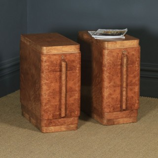 Antique English Pair of Art Deco Burr Maple & Walnut Bedside Chests / Tables / Cabinets (Circa 1930)