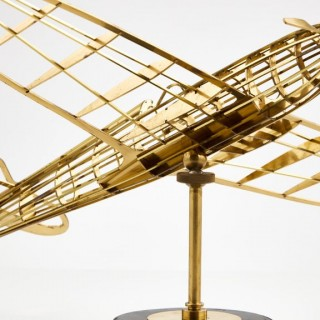 Skeletal brass model of a  WW11 Spitfire aircraft, circa 1945-50