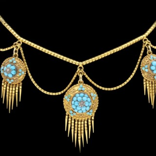 Antique turquoise and rose cut diamond necklace, circa 1870.