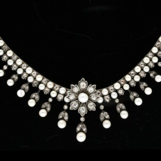 Antique natural pearl and diamond necklace, circa 1880.