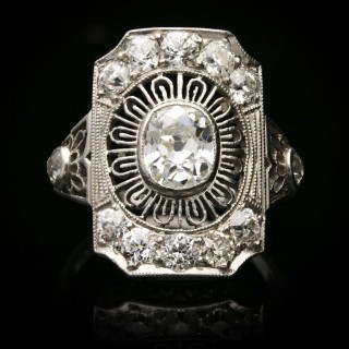 Antique diamond cluster ring by Gorham, American, circa 1905.