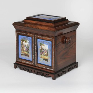 A Fine Rosewood and Porcelain Inlaid Table Cabinet