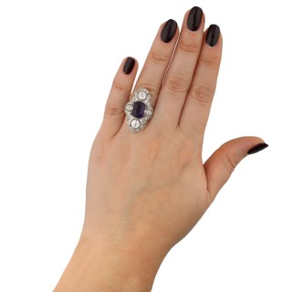Dreicer & Co. antique amethyst and diamond ring, American, circa 1910.