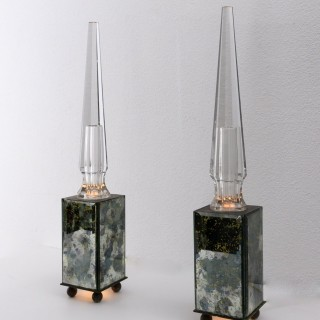 Pair of obelisk lamps in the style of Serge Roche