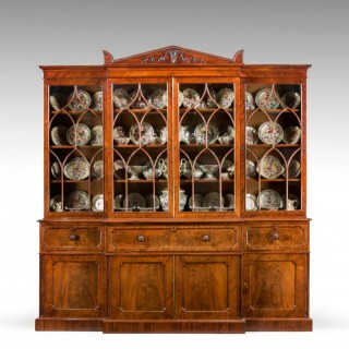 Regency Period Mahogany Library Breakfront Secretaire Bookcase by Gillows