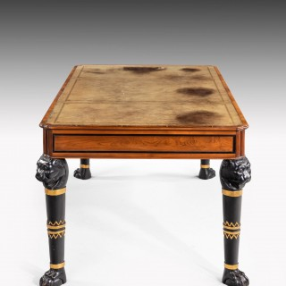 Regency Style Mahogany Library Table on Griffin Supports.