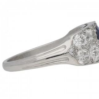 Sapphire and diamond ring, circa 1920.