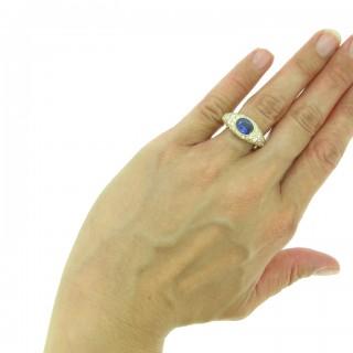 Vintage sapphire and diamond ring, circa 1970.