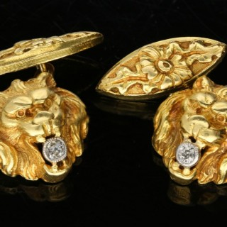 Belle Époque diamond set lion cufflinks, French, circa 1905.