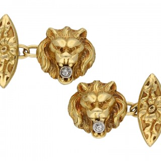 Belle Époque diamond set lion cufflinks, French, circa 1905.