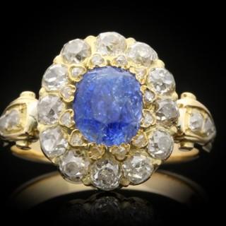 Antique Ceylon sapphire and diamond coronet cluster ring, circa 1890.