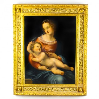 Antique Oil Painting 'The Mother and Child' by Egisto Manzuoli 19th Century