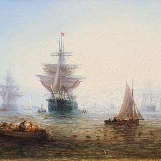The Fleet at Anchor at Dusk