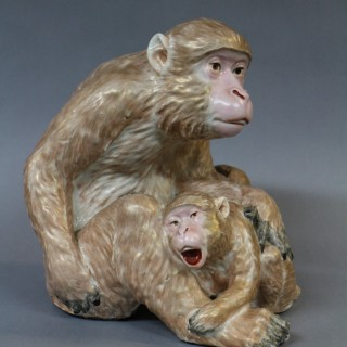 A 19th Century Japanese Kutani figure of a monkey and child