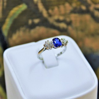 An extremely beautiful Platinum, Sapphire and Diamond Three Stone Ring, Circa 1935.